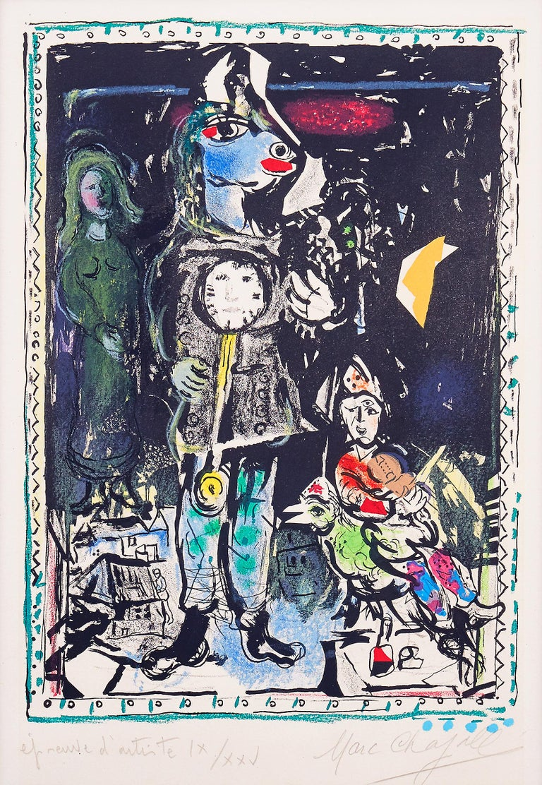 Marc Chagall - Farmer with a Clock - Original Lithograph 1968 Printed by Mourlot Dimensions: 53.5 x 41.2 cm  Handsigned and numbered  Edition: Epreuve d'artiste IX/XXV. Reference: Mourlot n° 552.   Marc Chagall  (born in 1887)  Marc Chagall was born