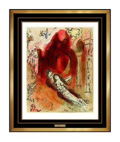 Marc Chagall Granada Authentic Color Aquatint Etching Nude Modern Framed Artwork