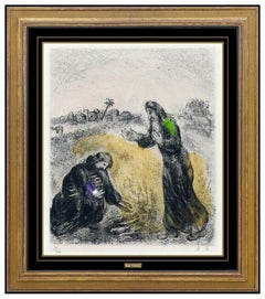Marc Chagall Hand Applied Watercolor Etching Signed Elijah Widow Of Sarepta Art