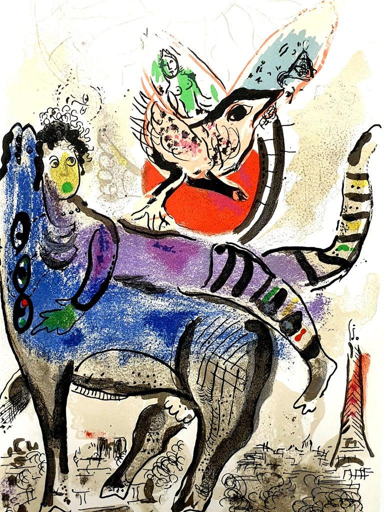 Marc Chagall - La Vache Bleue (Blue Cow) - Original Lithograph - Surrealist Print by Marc Chagall