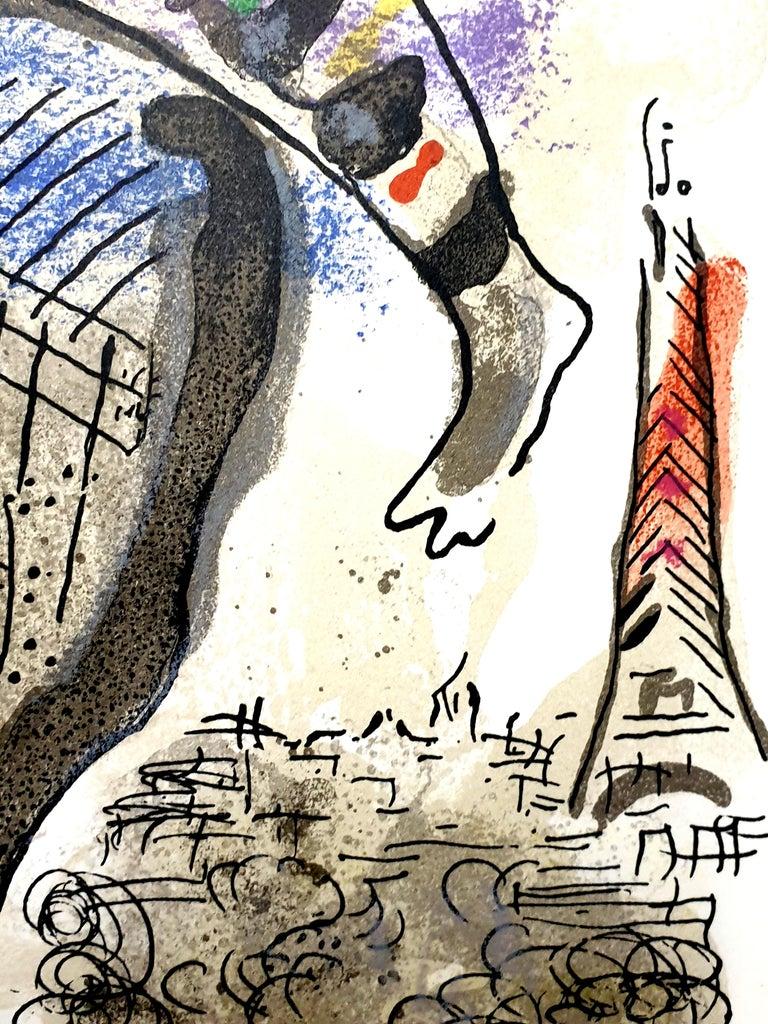 Marc Chagall - La Vache Bleue (Blue Cow) - Original Lithograph - Beige Print by Marc Chagall