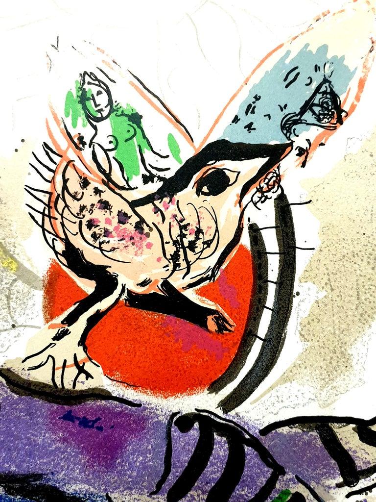 Marc Chagall - La Vache Bleue (Blue Cow) - Original Lithograph For Sale 1