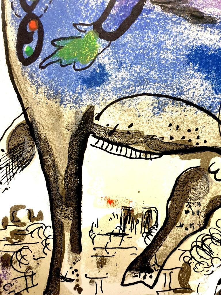 Marc Chagall - La Vache Bleue (Blue Cow) - Original Lithograph For Sale 2