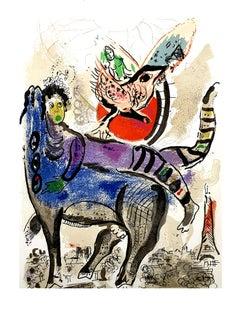 Marc Chagall - La Vache Bleue (Blue Cow) - Original Lithograph