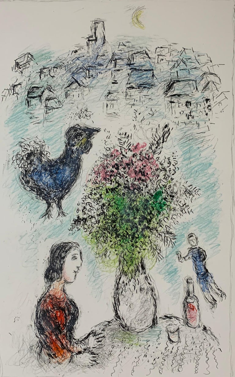 """Marc Chagall, """"Le Bouquet Rose"""", original lithograph - Print by Marc Chagall"""