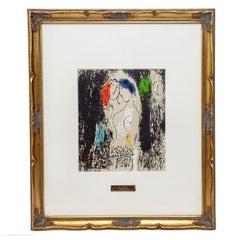 Marc Chagall Lovers in Grey Les Amoureux en gris Lithograph Mourlot 194