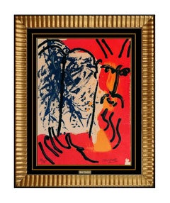 Marc Chagall Moses Color Lithograph Modern Portrait Hand Signed Bible Artwork