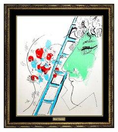 Marc Chagall Original Color Lithograph Authentic Modern Portrait Rare Artwork