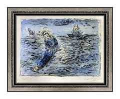 Marc CHAGALL Original Color Lithograph Hand Signed Jonas Sur Fond Bleu Artwork