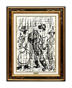 Marc Chagall Original Color Lithograph The Wandering Musicians Modernism Artwork