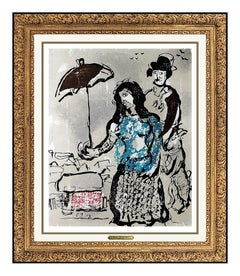 Marc CHAGALL Original Color Woodcut Etching Artwork Authentic Modern Poemes Rare