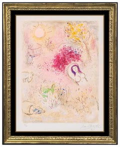 Marc Chagall Original Daphnis Chloe Hand Signed Color Lithograph Nude Flower Art