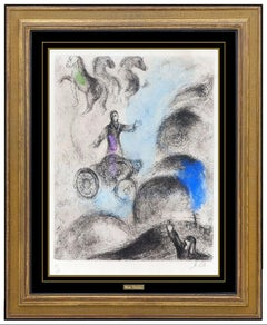 Marc Chagall Original Hand Colored Etching Signed Elijah Carried To Heaven Art