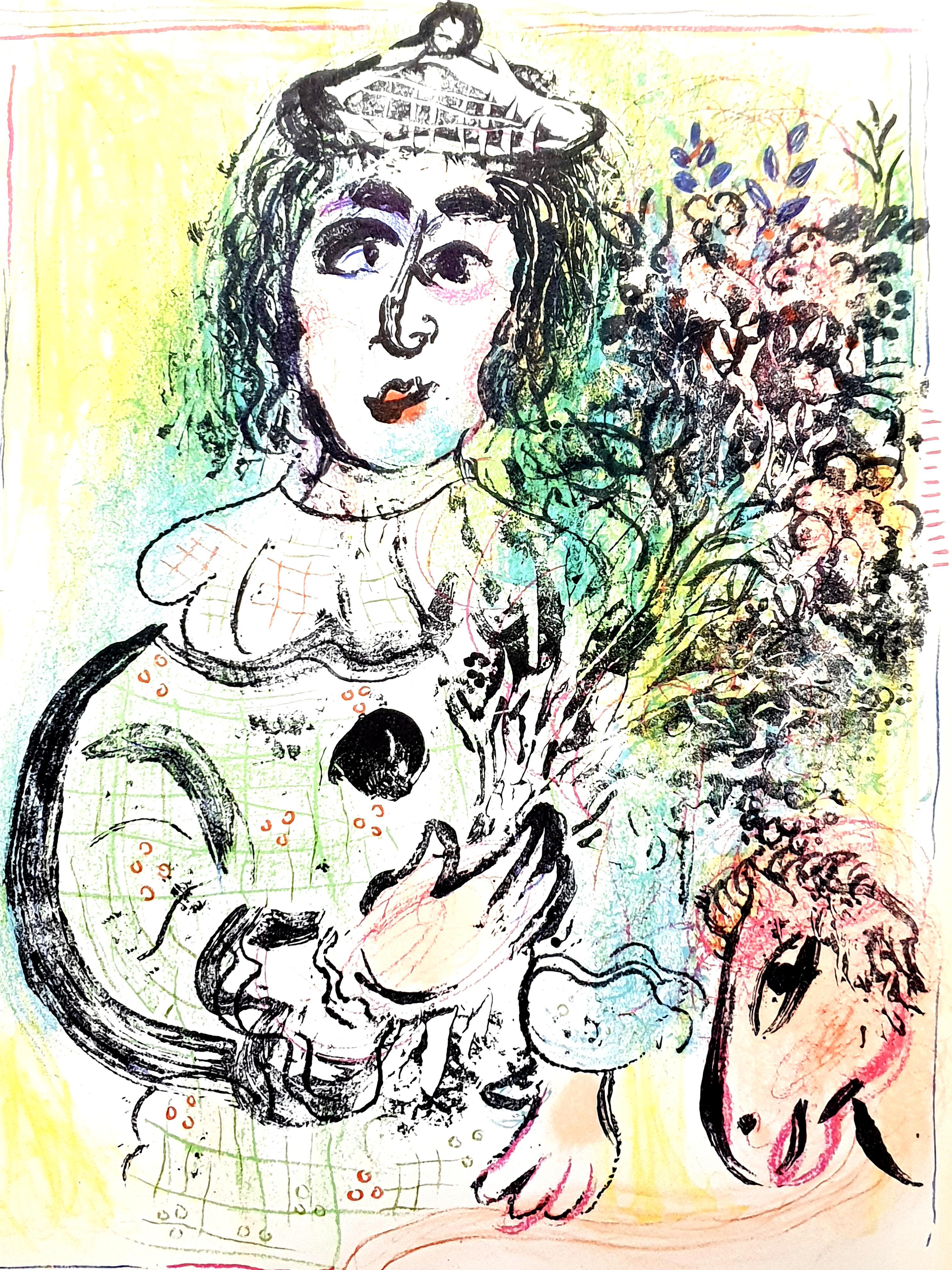 Marc Chagall - Flowered Clown - Original Lithograph