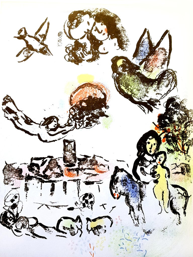 """Marc Chagall Figurative Print - Nocturne à Vence, original lithograph from """"Chagall Lithographe II"""""""