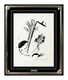 Marc Chagall Original Lithograph Hand Signed Bouquet of Flowers Portrait Artwork