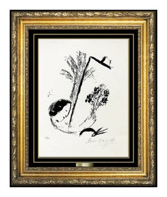 Marc Chagall Original Lithograph Hand Signed Flower Bouquet Authentic Artwork