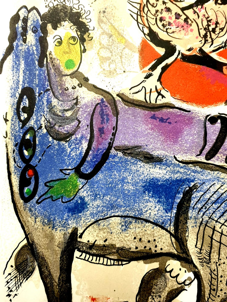Marc Chagall - Original Lithograph La Vache Bleue (The Blue Cow) From the literary review