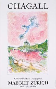 "Marc Chagall-Pink Opera-Opera Rose-36"" x 22.5""-Poster-1981-Modernism-Pink"