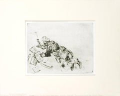 "Marc Chagall-Pliouchkin Looking for His Papers, Dead Souls-14"" x 11""-Etching"