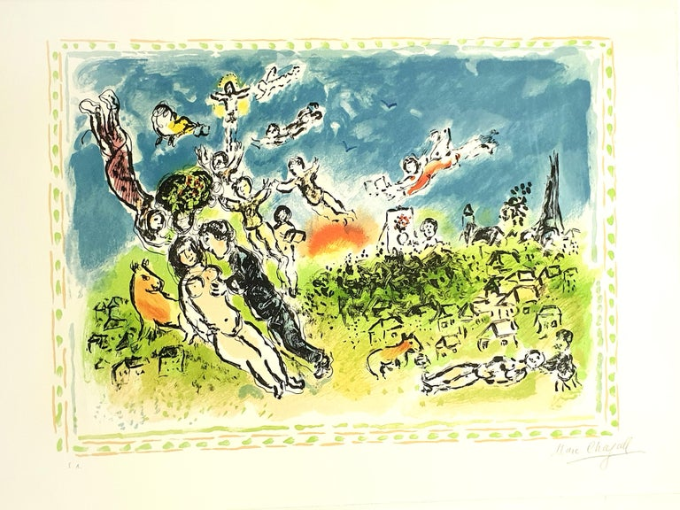 Marc Chagall - Summer's Dream - Original Handsigned Lithograph - Surrealist Print by Marc Chagall