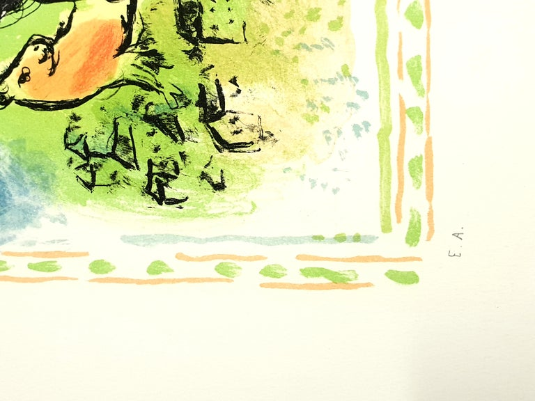 Marc Chagall - Summer's Dream - Original Handsigned Lithograph - Beige Figurative Print by Marc Chagall