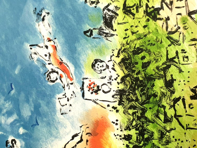 Marc Chagall - Summer's Dream - Original Handsigned Lithograph For Sale 5