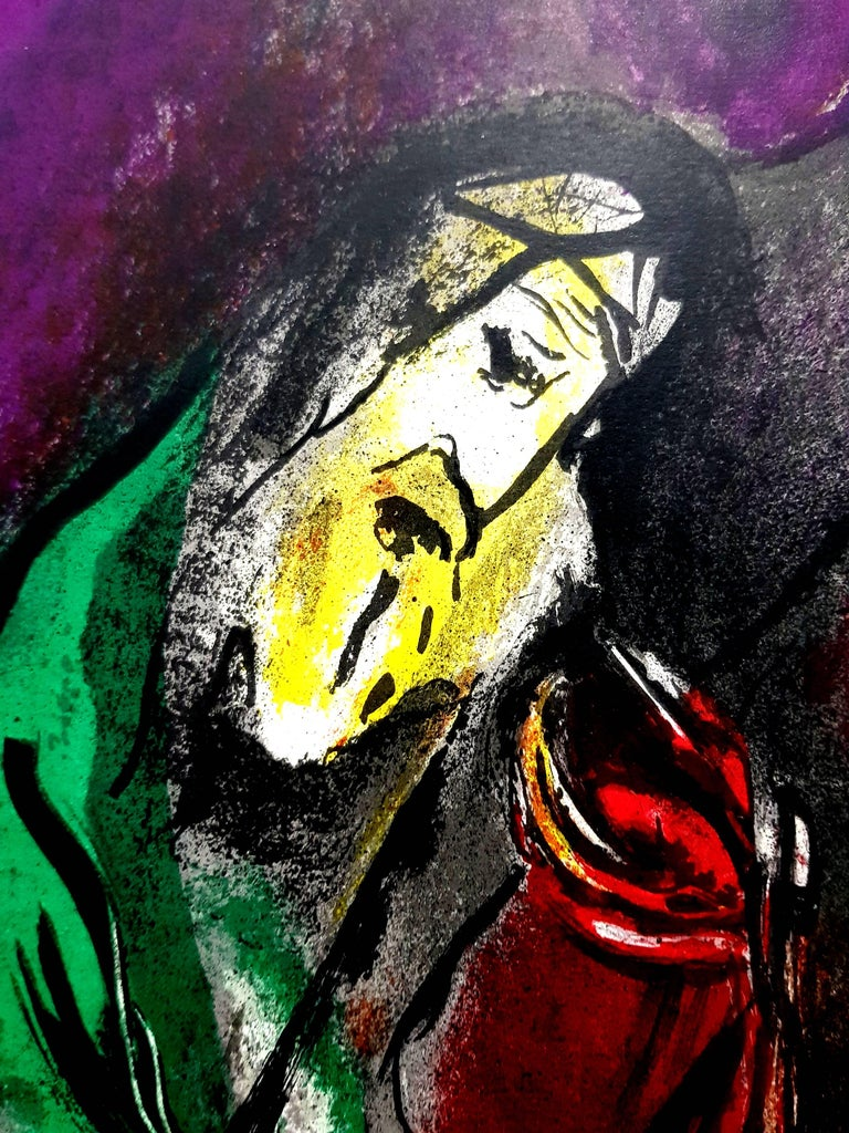 Marc Chagall - The Bible - Original Lithograph - Gray Figurative Print by Marc Chagall