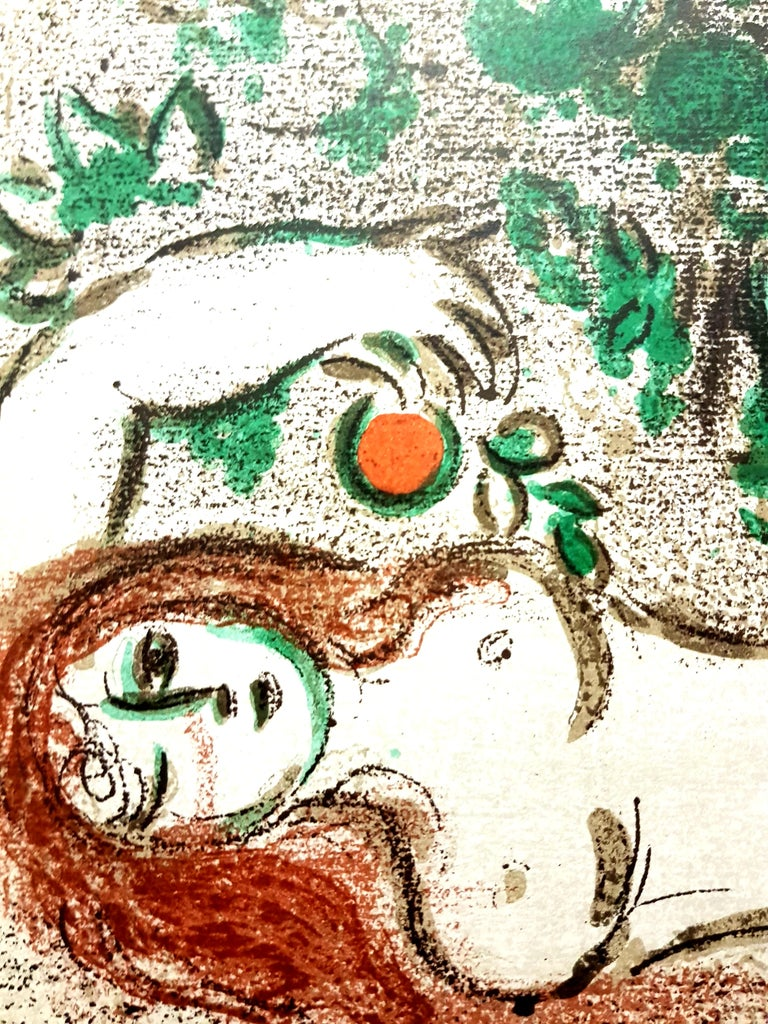 Marc Chagall - Paradise - Original Lithograph - Beige Figurative Print by Marc Chagall
