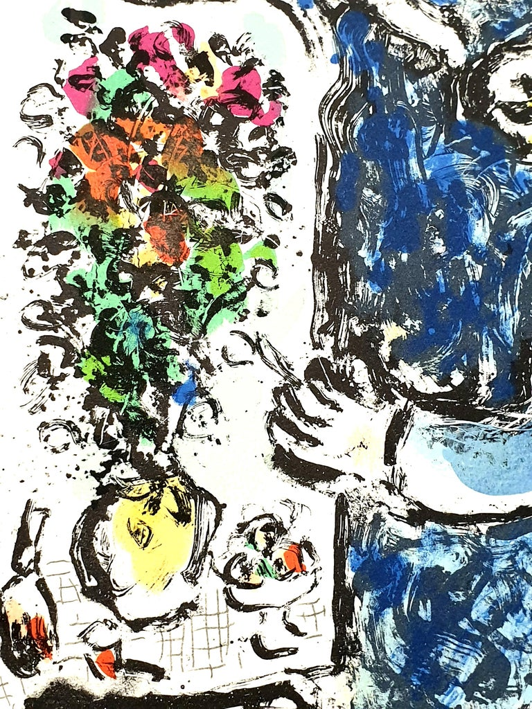 Marc Chagall - The Blue Workshop - Original Handsigned Lithograph - Surrealist Print by Marc Chagall
