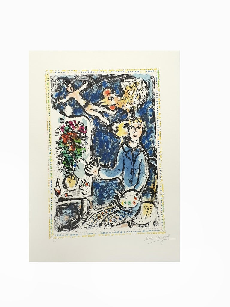 Marc Chagall - The Blue Workshop - Original Handsigned Lithograph - Beige Figurative Print by Marc Chagall