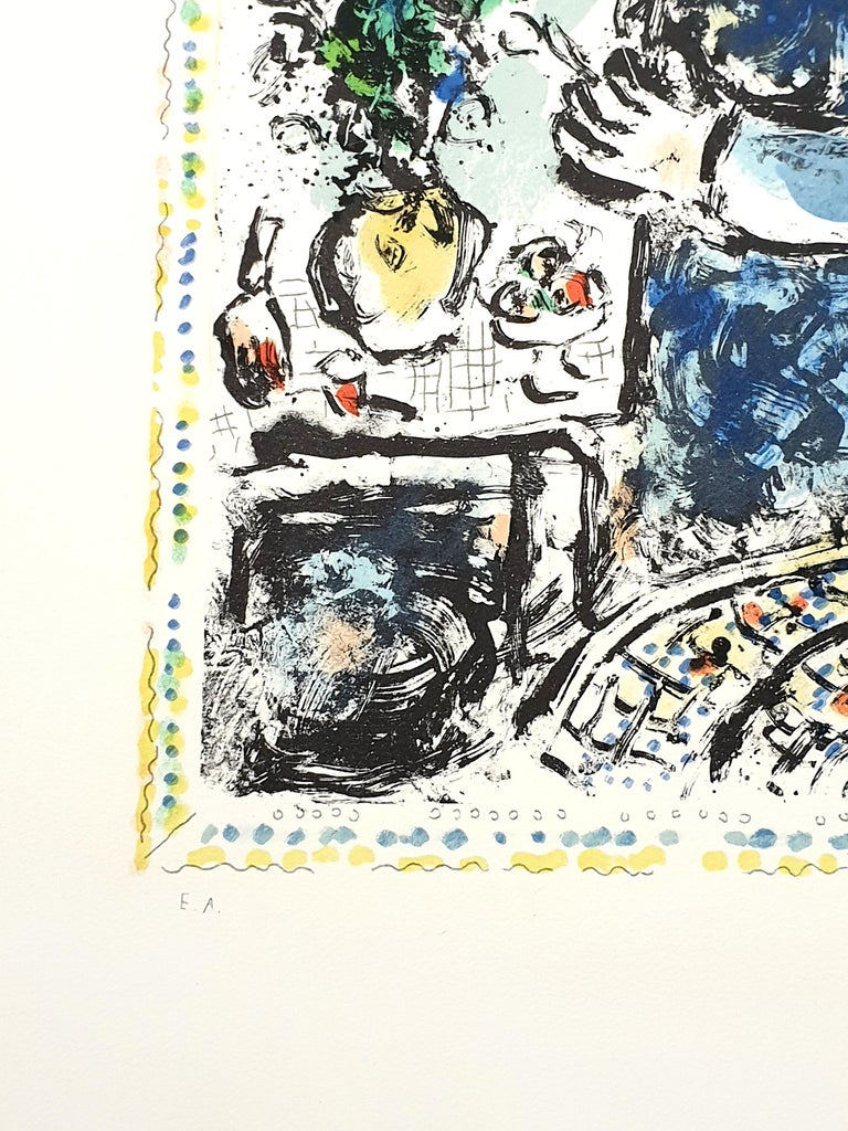 Marc Chagall - The Blue Workshop - Original Handsigned Lithograph 1983 Printed by Mourlot Dimensions: 65 x 47.5 cm  Handsigned in pencil Justified EA (Epreuve D'artiste, Artist proof) aside from the edition of 50. Medium : Arches Vellum