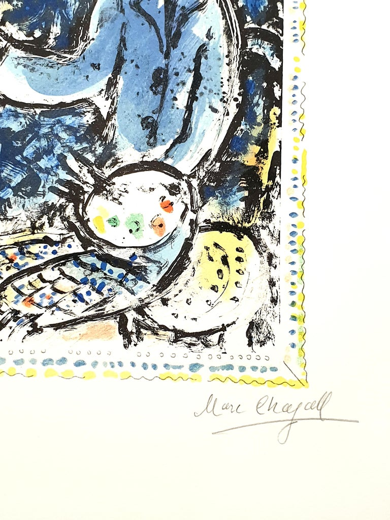 Marc Chagall - The Blue Workshop - Original Handsigned Lithograph For Sale 1