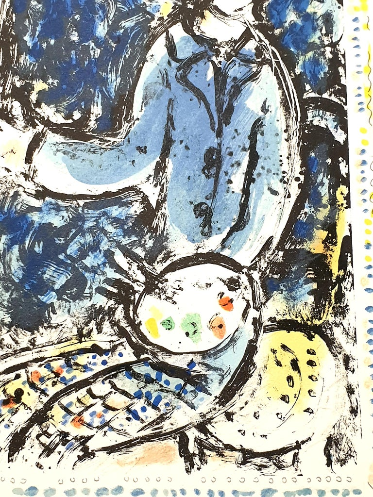 Marc Chagall - The Blue Workshop - Original Handsigned Lithograph For Sale 2