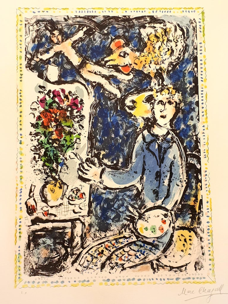 Marc Chagall - The Blue Workshop - Original Handsigned Lithograph - Print by Marc Chagall