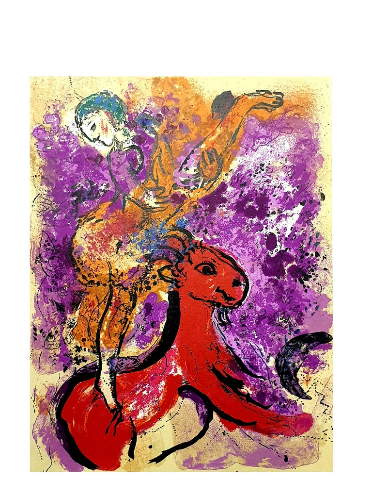 Marc Chagall - The Red Rider - Original Lithograph - Surrealist Print by Marc Chagall