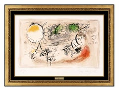 Marc Chagall The Rest Color Lithograph Hand Signed Romantic Portrait Framed Art