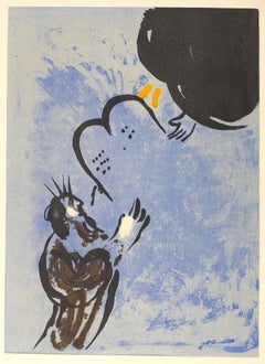 Moses Receiving the Tablets of the Law - Lithograph by Marc Chagall - 1956
