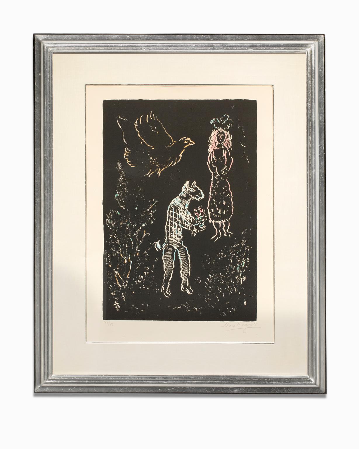 """""""Nuit d'été (Summer's Night)"""" Lithograph, Colors, Linear Figures on Black Ground"""