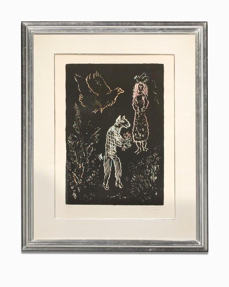 "Marc Chagall Figurative Print - ""Nuit d'été (Summer's Night)"" Lithograph, Colors, Linear Figures on Black Ground"