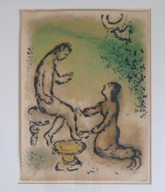 Odysseus and Euryklea - Original Lithograph by Marc Chagall - 1975