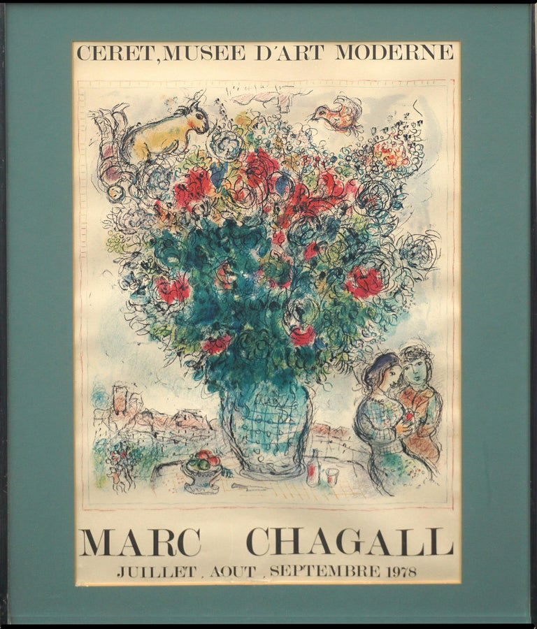 Wonderful vivid offset lithographic exhibition poster of Marc Chagall's exhibit at the Ceret, Musee D'art Moderne in September 1978 published by Imprimerie Moderne du Lion, Paris. Condition: Good--Some age toning and rippling to paper. Presented
