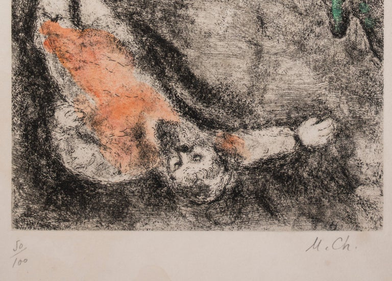 Prophet Killed by a Lion - Original Color Etching - 1956 - Surrealist Print by Marc Chagall