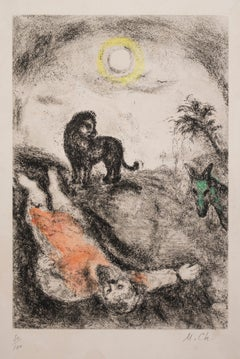 Prophet Killed by a Lion - Original Color Etching - 1956