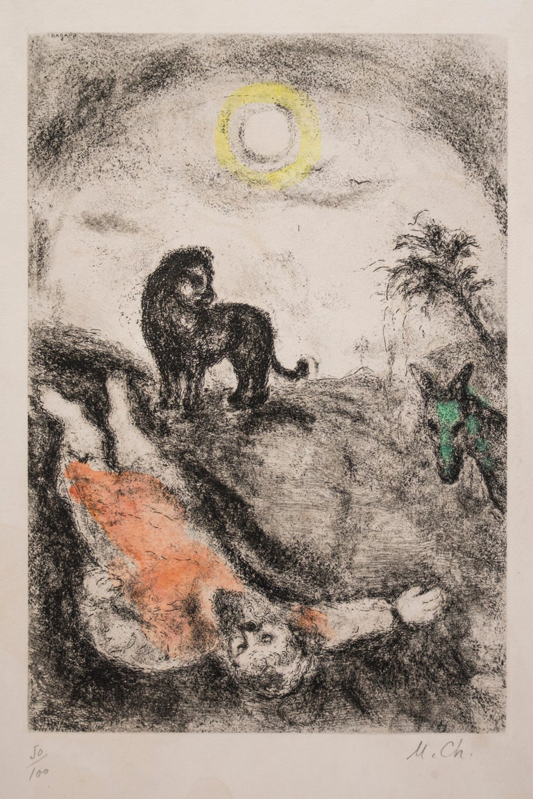 Marc Chagall Print - Prophet Killed by a Lion - Original Color Etching - 1956