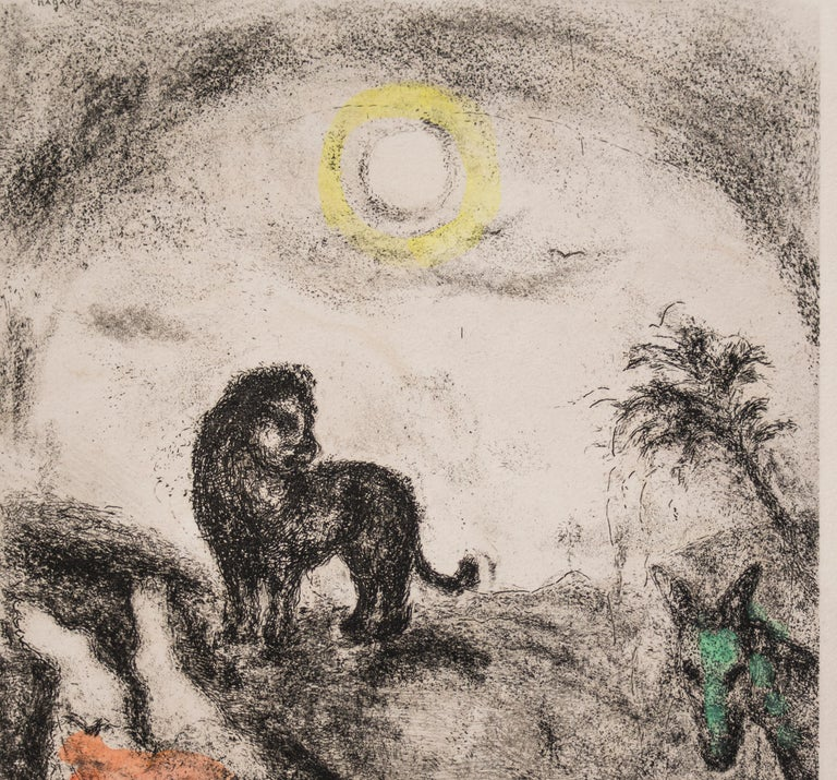Prophet Killed by a Lion - Original Color Etching - 1956 - Print by Marc Chagall