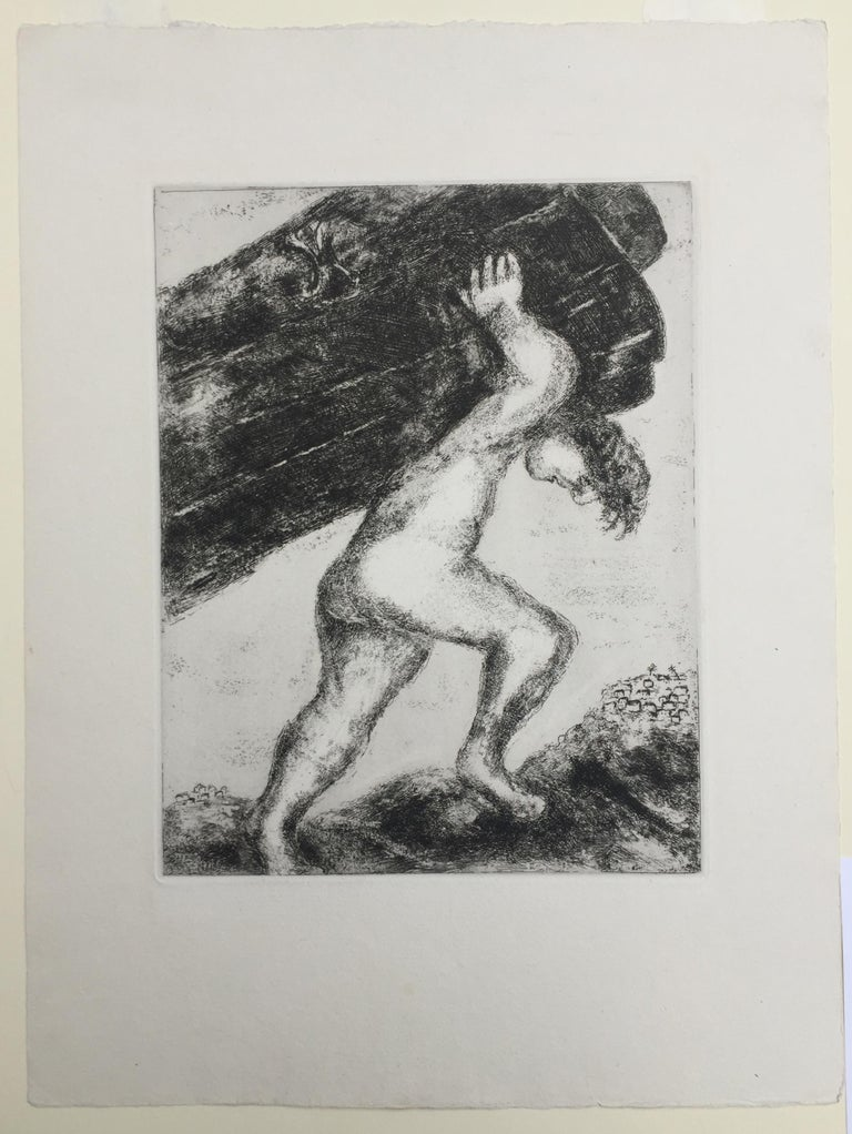 Samson Carrying The Gates of Gaza - Gray Figurative Print by Marc Chagall