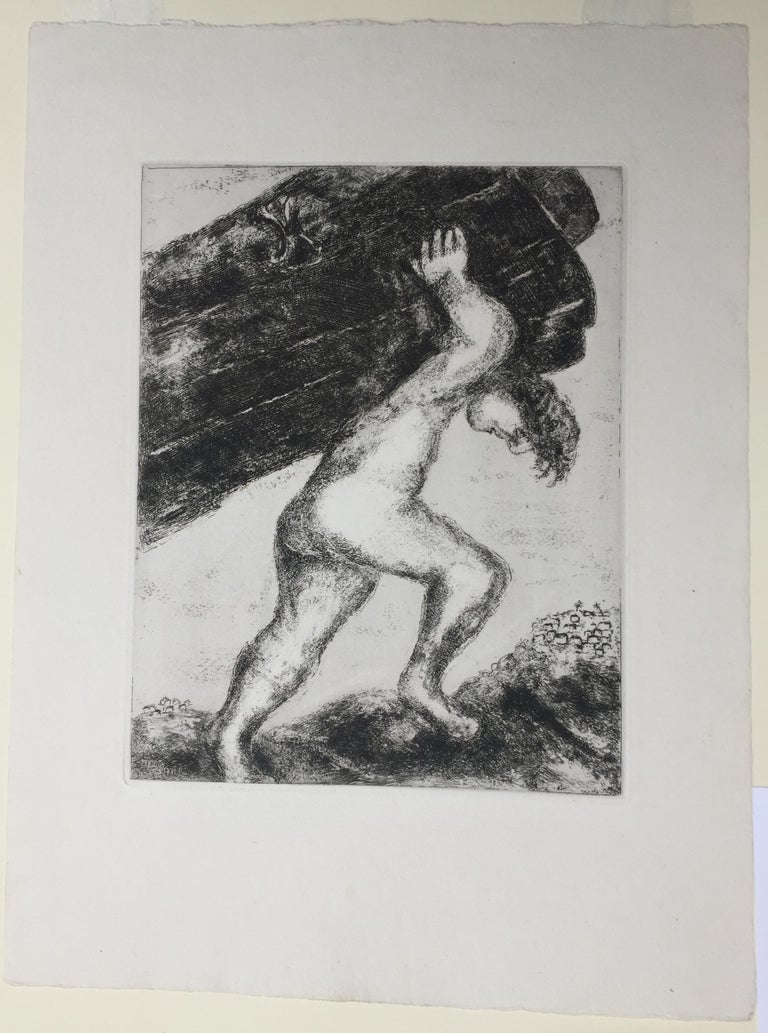 MARC CHAGALL (1887 – 1985)  SAMSON CARRYING THE  GATES OF GAZA, 1956 (Cramer 29) Etching and aquatint from the The Bible, Edition 275. Plate, 12 x 9