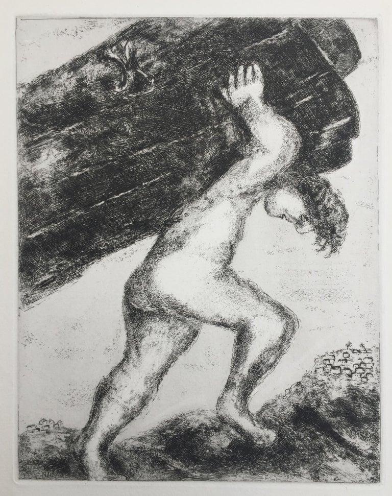 Marc Chagall Figurative Print - Samson Carrying The Gates of Gaza