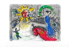 Soleil Au Cheval Rouge - Original Lithograph by Marc Chagall - 1979